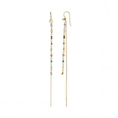 Stine A - Petit Gemstones With Long Chain Earring Berry mix