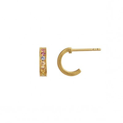 Stine A Petit Candy Creol With Soft Pastel Stones Earring Gold