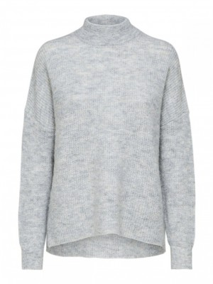 Selected Femme - Lulu Knit O-Neck grå