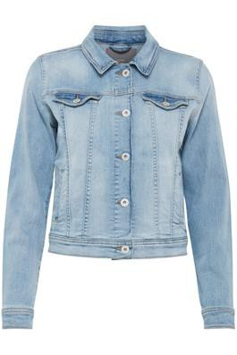 Ichi Stamp denim jakke light blue