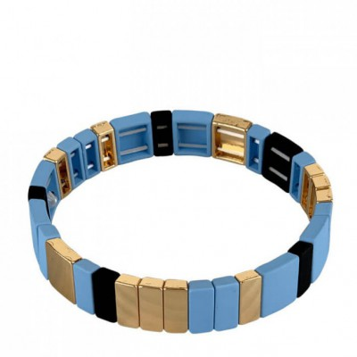 Black Colour - Dori square bracelet Light Blue