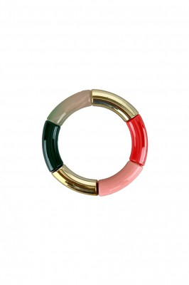 Black Colour - Dina tube bracelet gold green