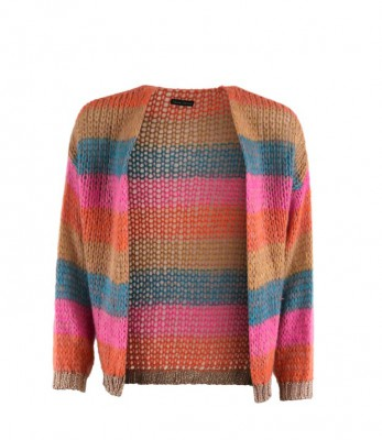 Black Colour - Filuca Cardigan Orange Multi
