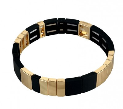 Black Colour - Dori square bracelet Black/Gold