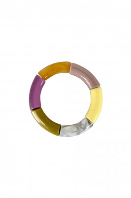 Black Colour - Dina tube bracelet Purple/Yellow
