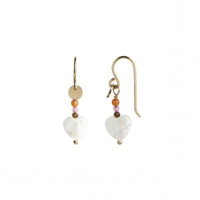 Stine A - Love Heart Earring Gold With Chain And Gemstones Pastel Coral Mix