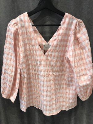 Neo Noir - Sila summer check blouse Light Pink