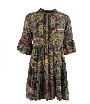 Black Colour - Luna boho dress garden gold