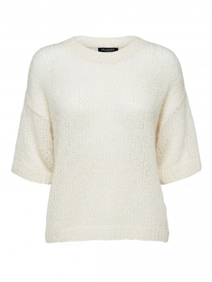 Selected Femme - Mellow Knit O-Neck White