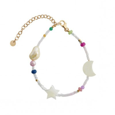 Stine A - White Midnight Bracelet With moon, star and multcolor stones