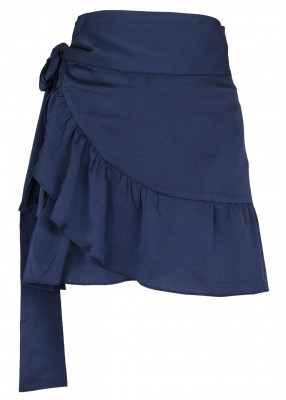 Neo Noir Chrissy solid wrap skirt navy
