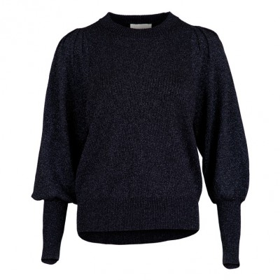 Neo Noir - Kelsey Lurex Knit Blouse Navy