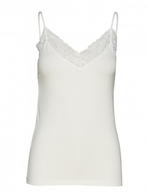 Selected Femme - Rib lace top Hvid