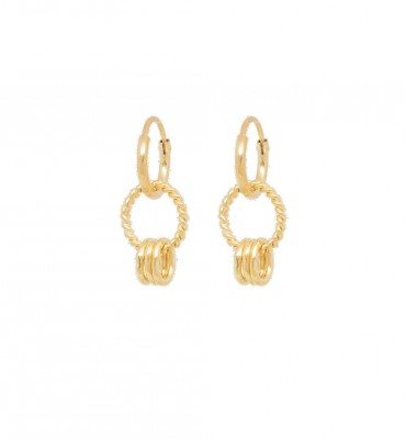 ANNA + NINA - Rope Multi Ring Earrings Guld