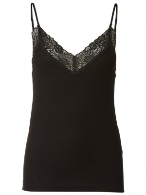 Selected Femme - Rib lace top sort