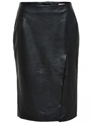Selected Femme - Faria Long Leather Skirt
