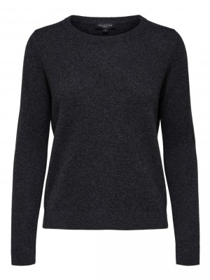 Selected Femme - Faya Cashmere Knit Dark Grey
