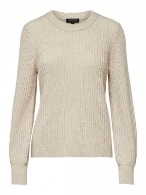Selected Femme - Rianna Rib Knit Beige