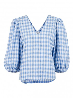 Neo Noir - Sila summer check blouse Light Blue