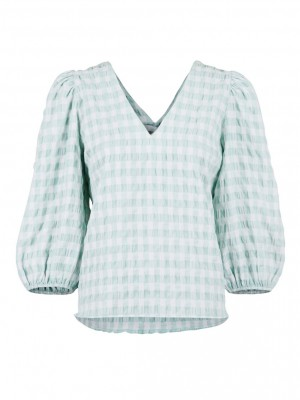 Neo Noir - Sila summer check blouse Mint