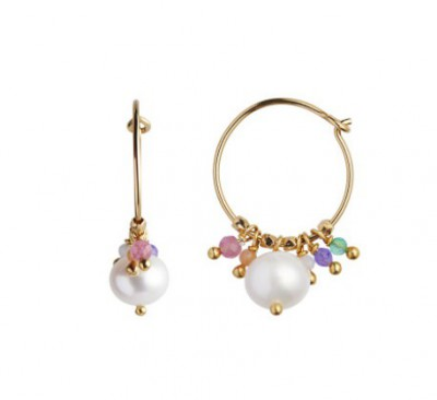 Stine A - Petit Hoop With Pearl And Candy Stones Earring Gold