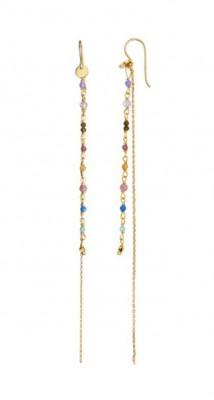 Stine A petit gemstone with long chain earring berry mix