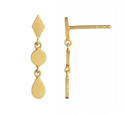 Stine A - Dangling Petit Silhouettes gold with harlekin, coin and teardrop