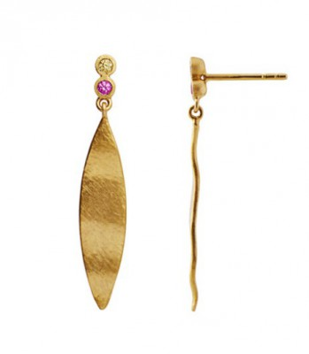 Stine A - Dangling Leaf with two candy dots earring gold