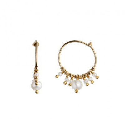 Stine A - Petit hoop white pearls gold*