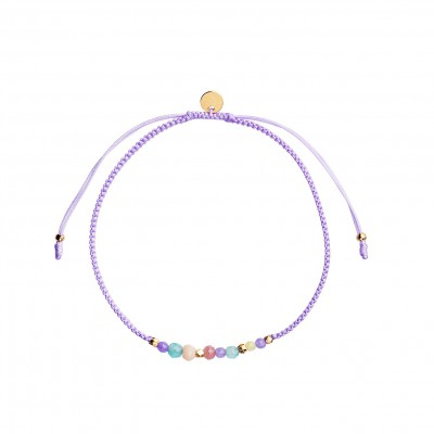 Stine A - Candy Bracelet Purple Mix And Violet Purple Ribbon