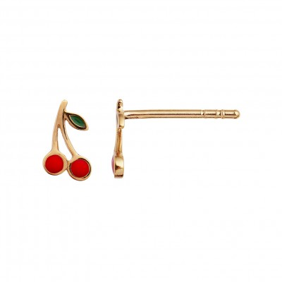 Stine A - Petit Cherry Earring Gold Enamel