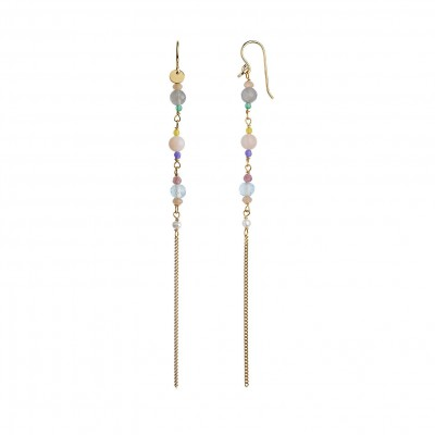 Stine A - Long Earring W. Stones And Chain