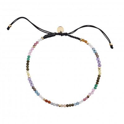 Stine A - Rainbow Mix And Black Ribbon Bracelet