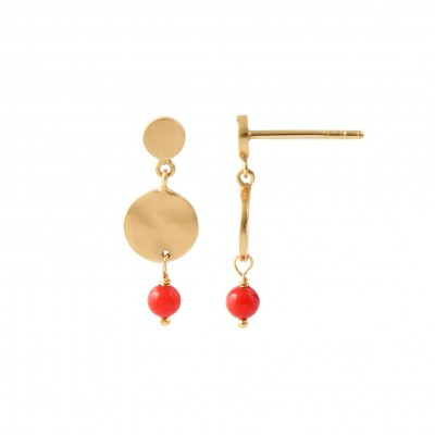 Stine A - Petit Hammered Coin And Stone Red