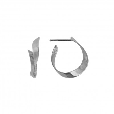 Stine A - Twisted Hammered Creol Earring Left Silver
