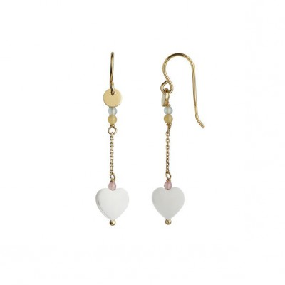 Stine A - Love Heart Earring Gold With Chain And Gemstones Pastel Mix