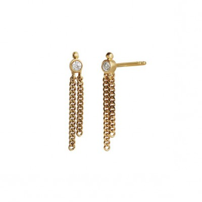 Stine A - Big dot earring gold with two chains
