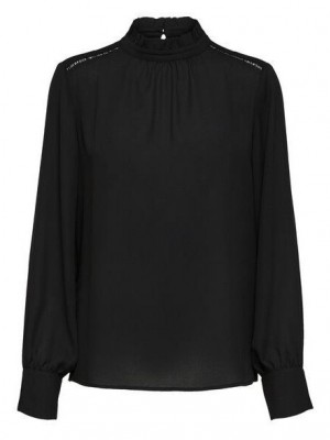 Selected Femme - Cilla neck ruffle top sort
