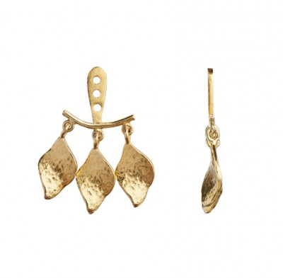Stine A - Three dancing Ile De L'amour behind ear earring gold