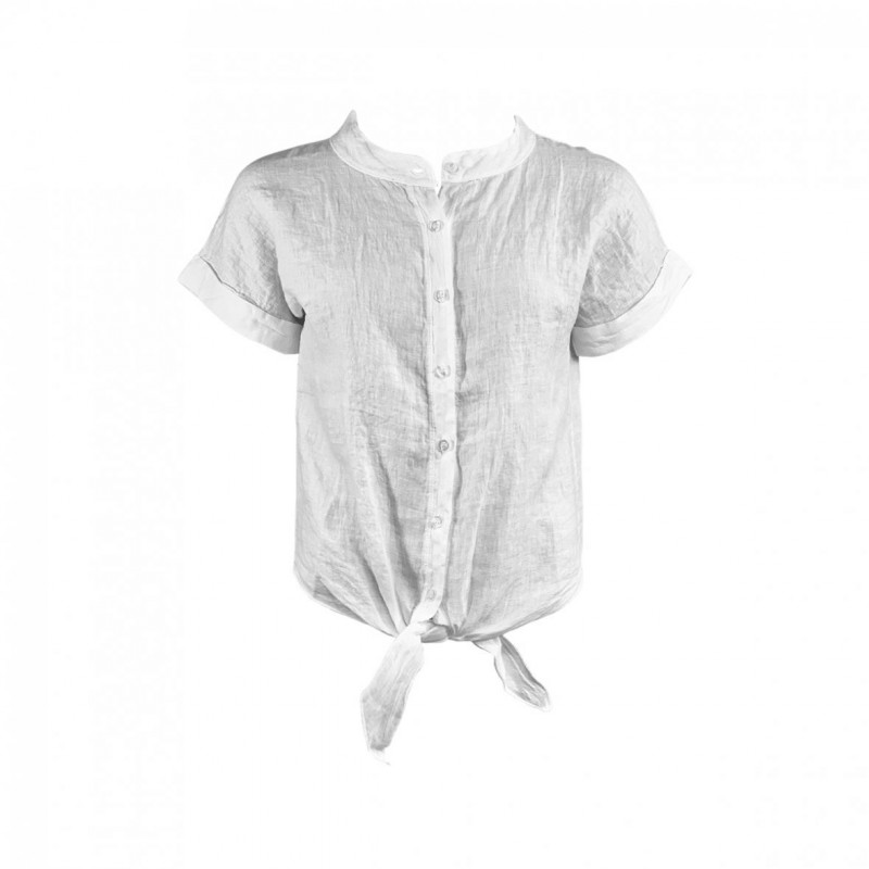 Black Colour - Linen Shirt White