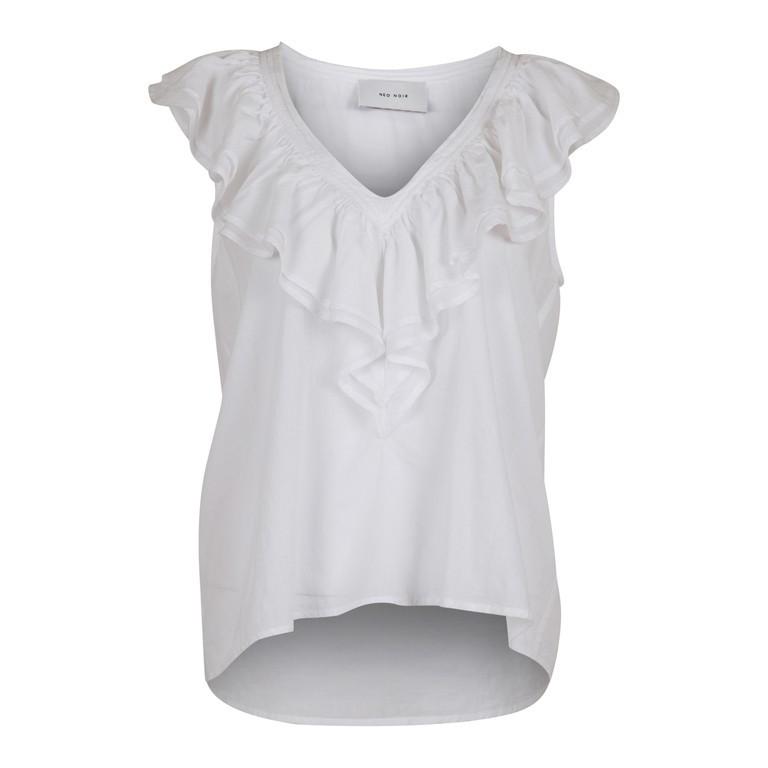 Skøn hvid top med flæse fra Neo Noir