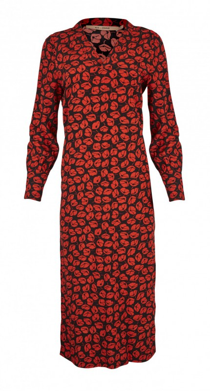 6b369519ea0f Smuk rød og sort kjole fra RUE de FEMME