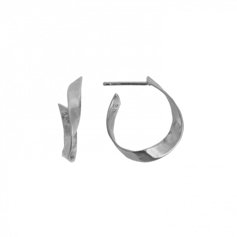 Stine A - Twisted Hammered Creol Earring Right Silver